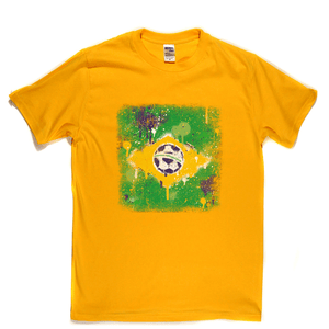 Grunge Brazil Flag Spraypaint Regular T-Shirt