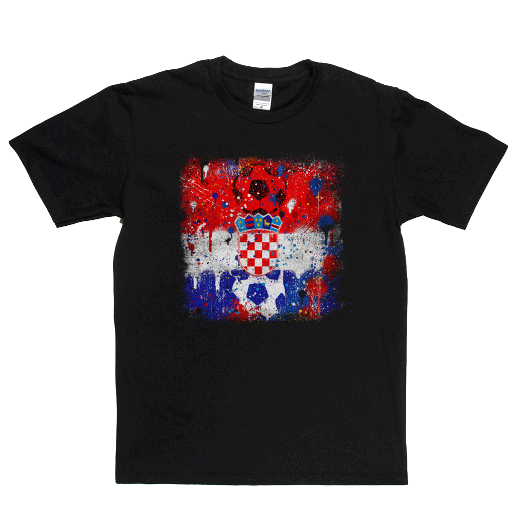 Grunge Croatian Flag Spraypaint Regular T-Shirt