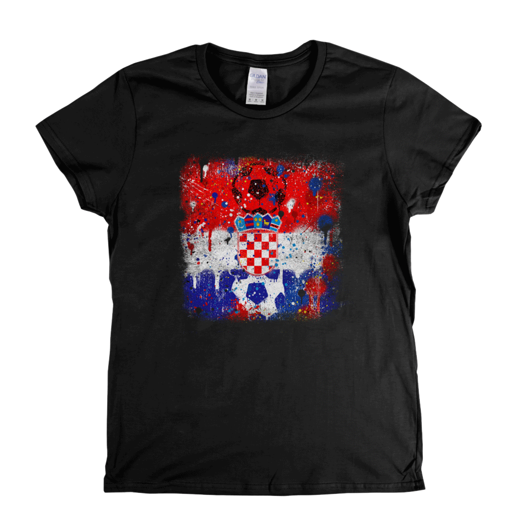 Grunge Croatian Flag Spraypaint Womens T-Shirt