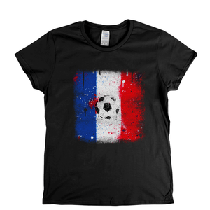 Grunge France Flag Spraypaint Womens T-Shirt