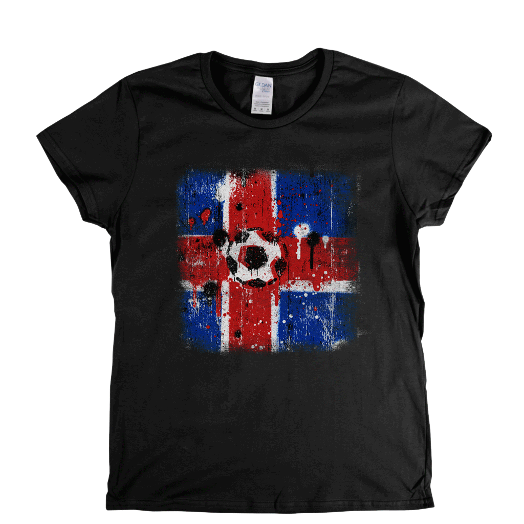 Grunge Iceland Flag Spraypaint Womens T-Shirt