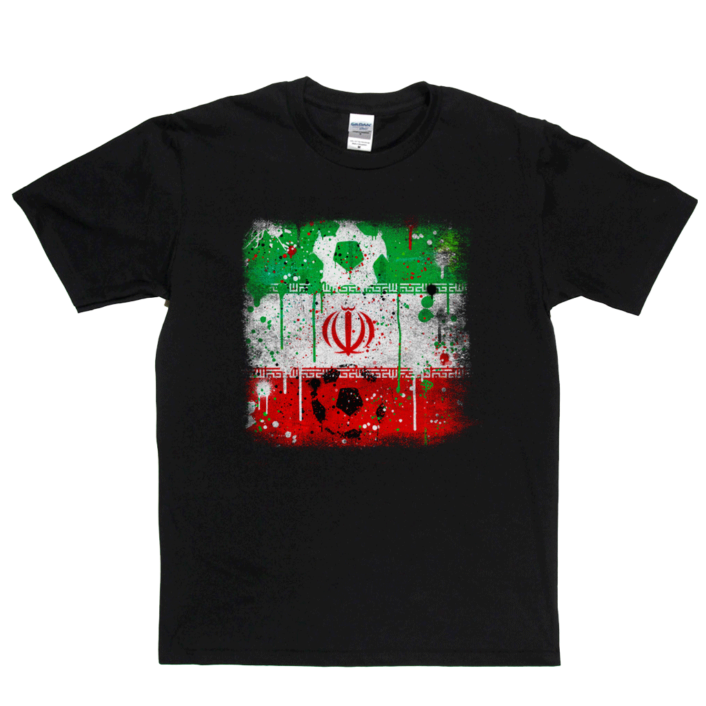 Grunge Iran Flag Spraypaint Regular T-Shirt