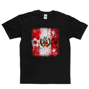 Grunge Peru Flag Spraypaint Regular T-Shirt