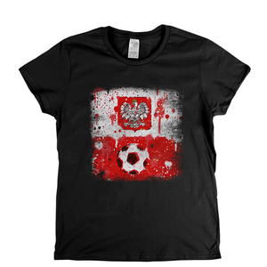 Grunge Poland Flag Spraypaint Womens T-Shirt