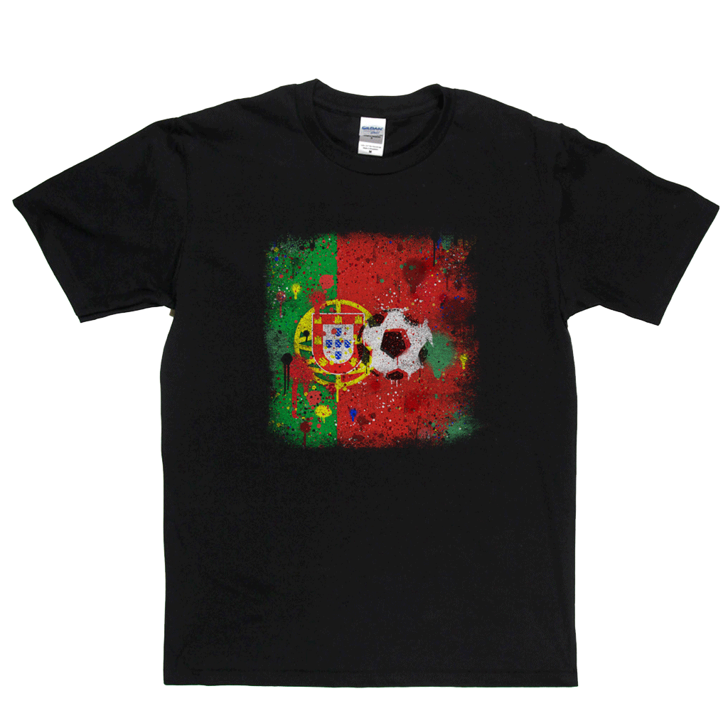 Grunge Portugal Flag Spraypaint Regular T-Shirt