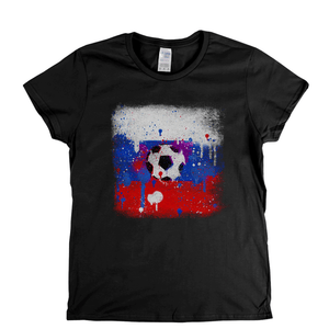 Grunge Russian Flag Spraypaint Womens T-Shirt