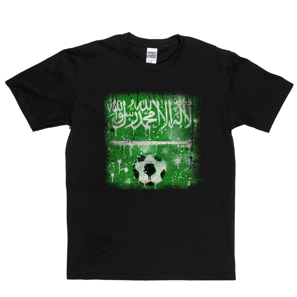 Grunge Saudi Arabia Flag Spraypaint Regular T-Shirt