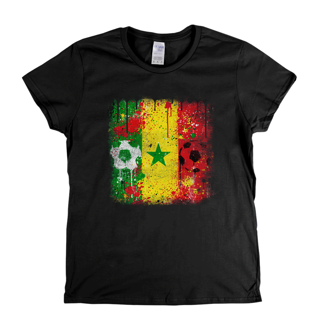 Grunge Senegal Flag Spraypaint Womens T-Shirt