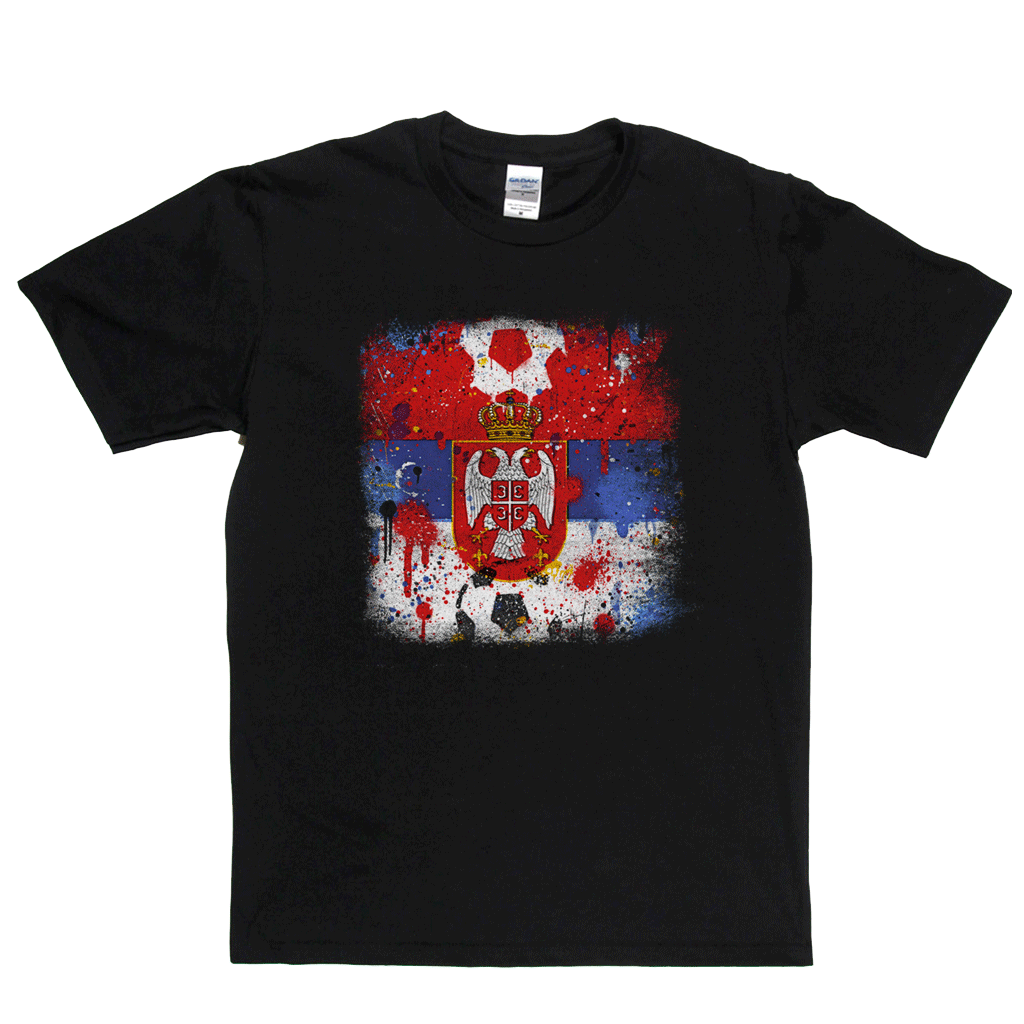 Grunge Serbian Flag Spraypaint Regular T-Shirt