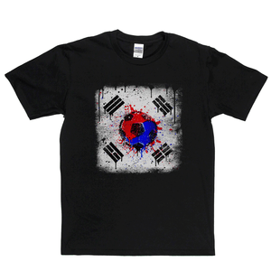 Grunge South Korea Flag Spraypaint Regular T-Shirt