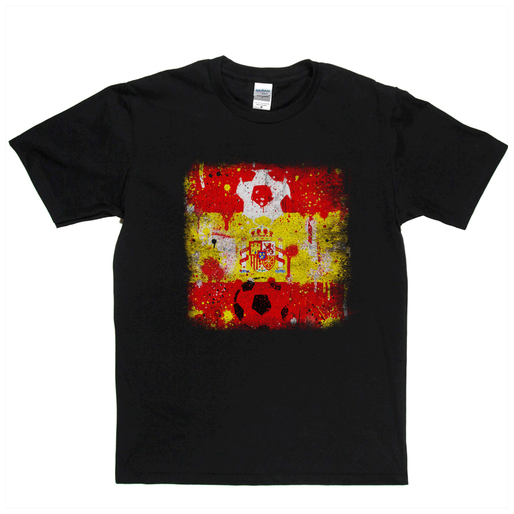 Grunge Spain Flag Spraypaint Regular T-Shirt