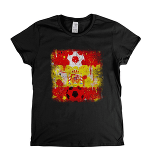 Grunge Spain Flag Spraypaint Womens T-Shirt