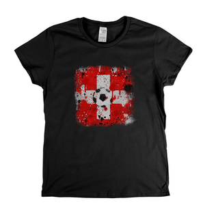 Grunge Switzerland Flag Spraypaint Womens T-Shirt