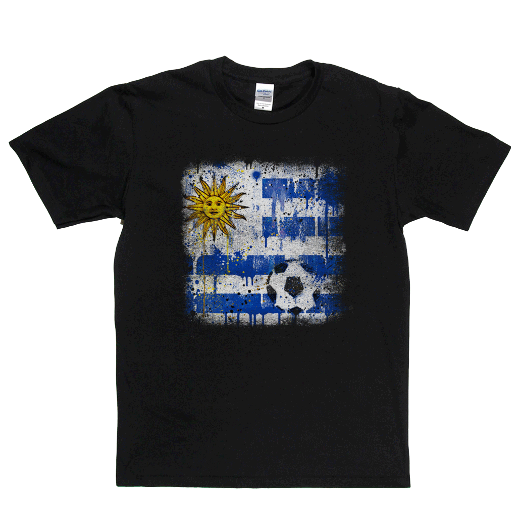 Grunge Uruguay Flag Spraypaint Regular T-Shirt