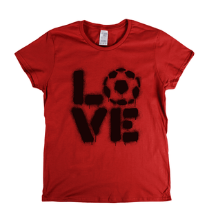 Love Football Stencil Spraypaint Womens T-Shirt