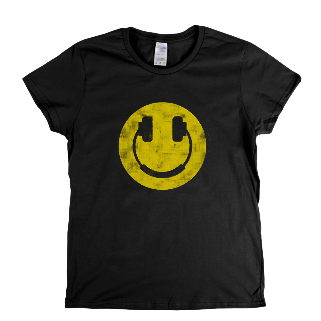 Smiley Headphones Womens T-Shirt