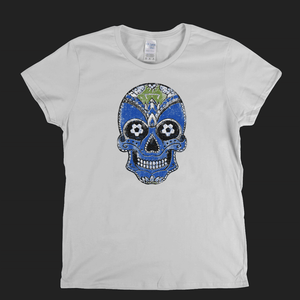 Team Sugar Skull Blue White Womens T-Shirt