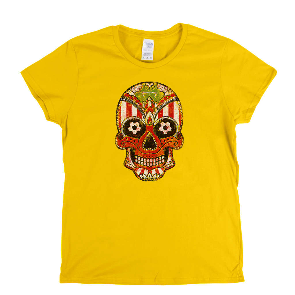 Team Sugar Skull Red White Stripe Womens T-Shirt
