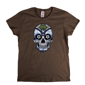 Team Sugar Skull White Blue Womens T-Shirt