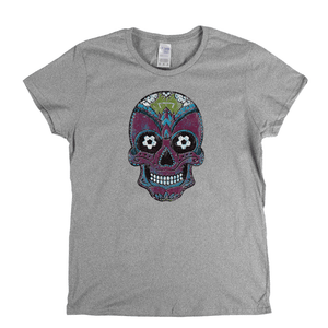 Team Sugar Skull Burgundy Sky Blue Womens T-Shirt