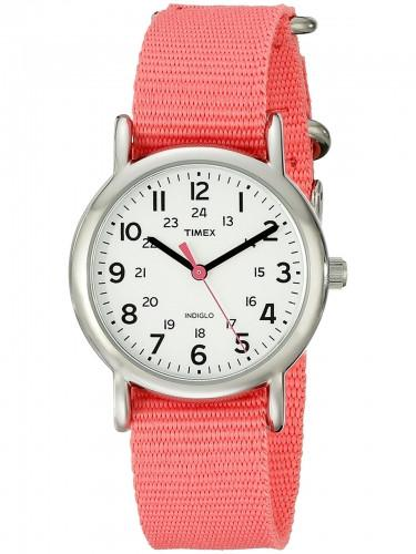Timex T2P 3689 J Damen Weekender Coral Slip-thru Stoff/Nylon Strap Watch