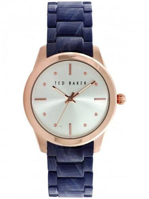 Ted Baker TE 10025284 Frauen Rose Gold Fall Acetat blau Gurt Quarzuhr