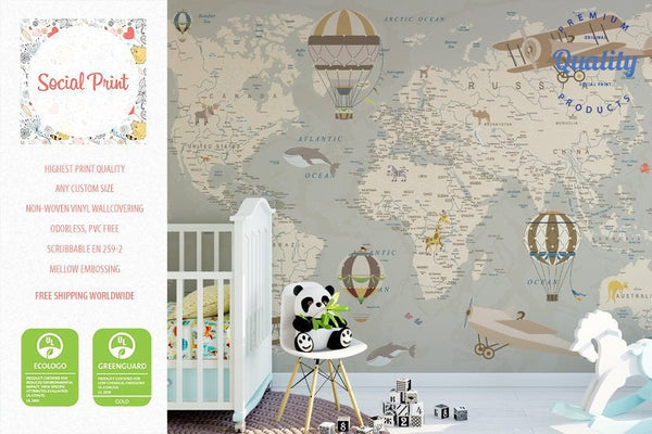 Nursery Detailed World Map Wallpaper With Hot Air Balloons Animals Planes Free Shipping