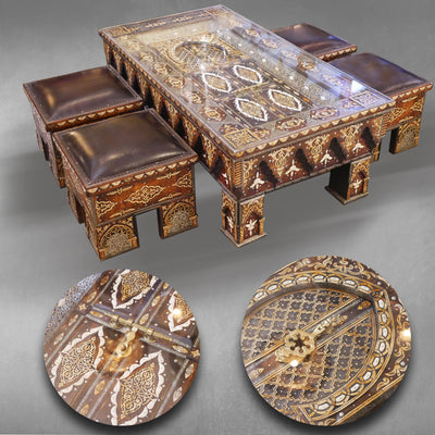 Table basse et 4 tabourets style marocain
