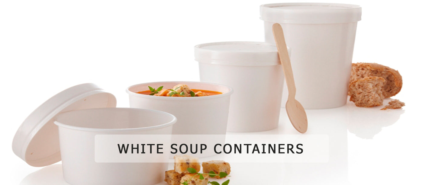 White Soup Container with Lid