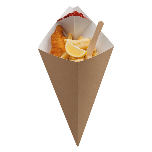 large kraft food cone with sauce coner - GM Packaging UK Ltd