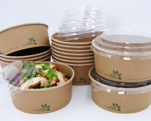 PET lids to fit 1000ml Kraft PLA Salad Bowls/300s - GM Packaging (UK) Ltd