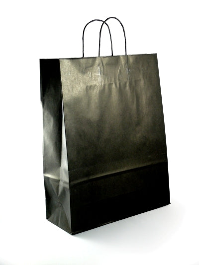 Large Black Paper Carrier Bags with twisted handles - GM Packaging (UK) Ltd