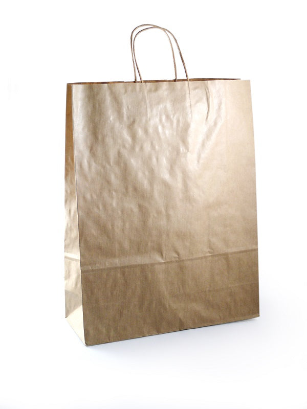 32+12x41cm Toptwist Fashion Carriers Brown Bags - GM Packaging (UK) Ltd