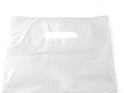 10 x 12 x 4 inch White Patch Handle Carrier Bags - GM Packaging (UK) Ltd