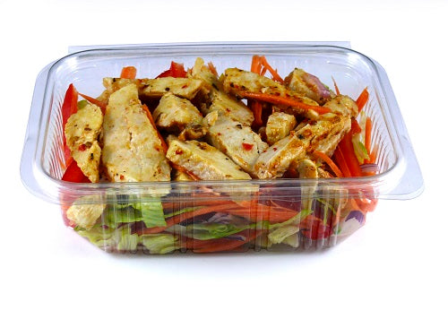 750cc Rectangular Plastic Salad Container (Hinged Lid) - GM Packaging (UK) Ltd