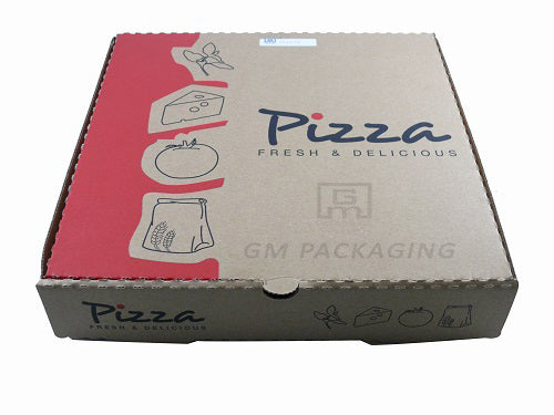 10 inch Printed Brown Pizza Boxes (RED) - GM Packaging (UK) Ltd