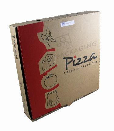 10 Inch Printed Brown Pizza Boxes Red