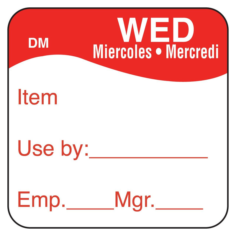 "1"" DissolveMark Day of Week Labels (Wednesday) - GM Packaging (UK) Ltd"
