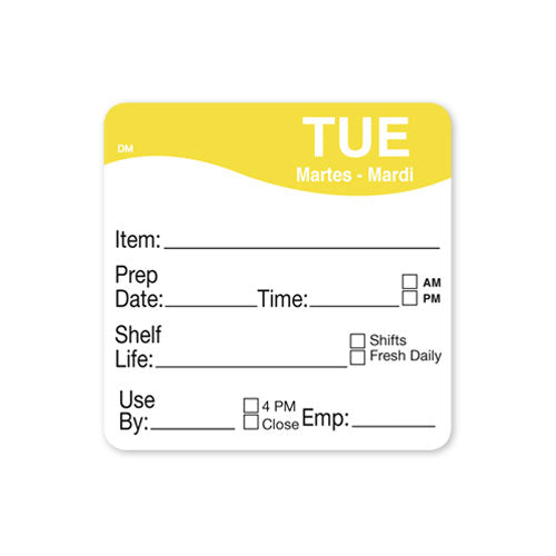 51x 51mm Tuesday - Shelf Life Labels - GM Packaging UK Ltd