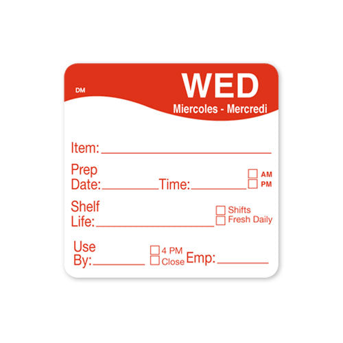 51x 51mm Wendesday - Shelf Life Labels - GM Packaging (UK) Ltd