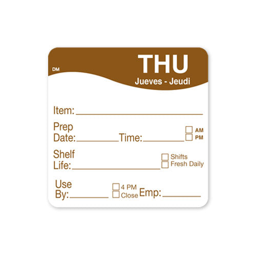 51x 51mm Thursday - Shelf Life Labels - GM Packaging (UK) Ltd