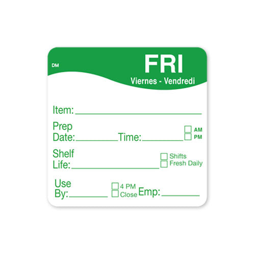51x 51mm Friday - Shelf Life Labels - GM Packaging UK Ltd