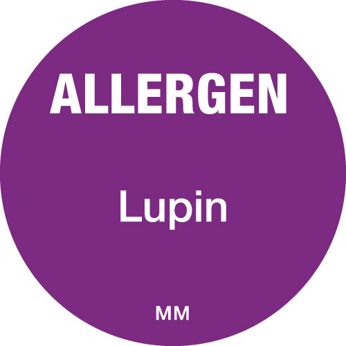 25mm Circle Purple Allergen Lupin Label - GM Packaging (UK) Ltd