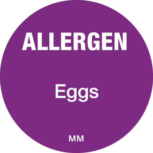 25mm Circle Purple Allergen Eggs Label - GM Packaging (UK) Ltd