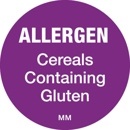 25mm Circle Purple Allergen Cereal Label - GM Packaging (UK) Ltd