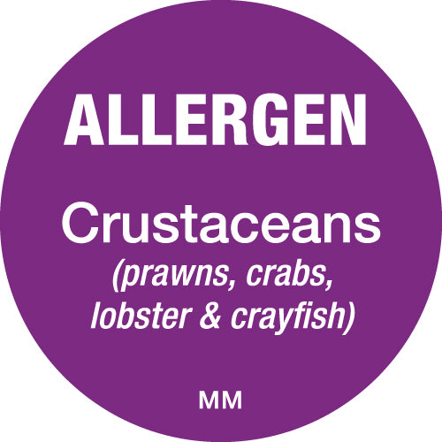 25mm Circle Purple Allergen Crustaceans Label - GM Packaging (UK) Ltd