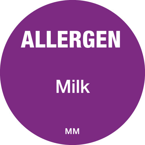 25mm Circle Purple Allergen Milk Label - GM Packaging (UK) Ltd