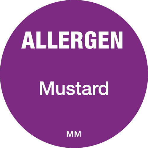 25mm Circle Purple Allergen Mustard Label - GM Packaging (UK) Ltd