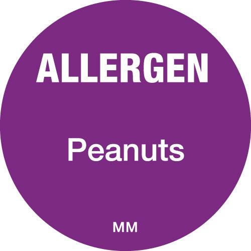 25mm Circle Purple Allergen Peanuts Label - GM Packaging (UK) Ltd