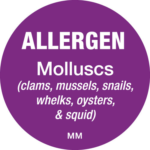 25mm Circle Purple Allergen Molluscs Label - GM Packaging (UK) Ltd